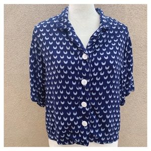 Blue moon button down collared top